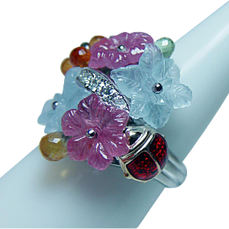 Vintage Carved Aquamarine Sapphire Diamond Ladybug Ring 14K Gold Estate