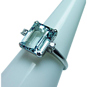 Vintage Aquamarine Diamond 14K White Gold 3 stone Ring Estate Designer F&F Felger
