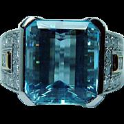Richard Krementz Platinum 9.8ct Aquamarine Diamond Ring Designer Estate GIA cert