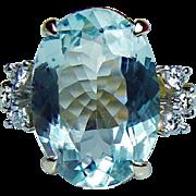 Vintage H Stern Platinum 18K Gold Aquamarine Diamond Ring 4.7ct Designer Signed