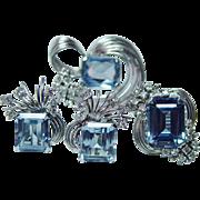 Certified Vintage Aquamarine Diamond Pendant Earrings Ring Set Full Parure 14K White Gold Estate $21,600 appraisal