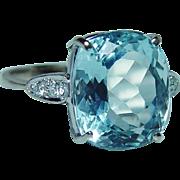 Vintage H Stern 18K White Gold Cushion Aquamarine Diamond Ring Designer Signed