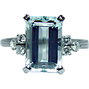 Vintage H Stern 18K White Gold Aquamarine Diamond Ring Designer Signed