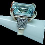 ART DECO Platinum 14K Gold 37ct Aquamarine European Diamond Ring Vintage Estate