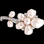 Vintage Diamond Genuine Cultured Pearl 14K White Gold Large Flower Brooch Estate Jewelry