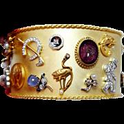 Vintage Diamond Star Sapphire Pearl 14K 18K Platinum Charm Bracelet