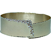 Vintage Diamond Bracelet 14K Gold Heavy Flexible Designer Sophia Estate FAB!