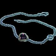Vintage 14K White Gold Diamond Rhodolite Garnet Heart Bracelet Estate