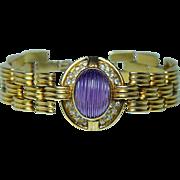Vintage 13ct Carved Amethyst Diamond Bracelet 18K Gold Heavy 48.9gr Estate