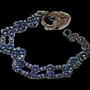 Antique 7.4ct Old Miner Diamond Sapphire Bracelet with Padlock 14K Gold Estate