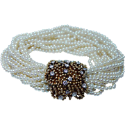 Vintage 1.40ct Diamond 17-Strand Genuine Cultured Pearl Bracelet 18K Gold Elaborate Clasp Estate