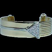 Vintage Diamond Cuff Bracelet 14K Gold Heavy 28gr Signed SAVITT Estate