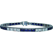 "Vintage 14K White Gold Diamond Sapphire Bracelet 7.25"" Heavy Estate 12.5ct"