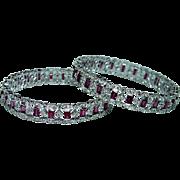 Vintage 18K White Gold Diamond Pink Tourmaline Bangle Bracelet Pair Estate 21ct