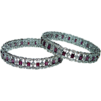Vintage 18K White Gold Diamond Pink Tourmaline Bangle Bracelet Pair Estate 21ct
