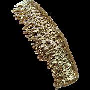 Designer 18K Gold Cuff Bracelet 3 Dimensional Heavy 55.8gr European Hallmarks Signed Estate