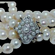 Art Deco Platinum Miner Diamond Clasp Bracelet Old Mine Genuine Cultured Pearl Estate
