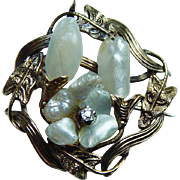 Art Nouveau Genuine Cultured Pearl Old European Diamond Floral Brooch Enhancer Solid 10K Gold Estate Circa 1900