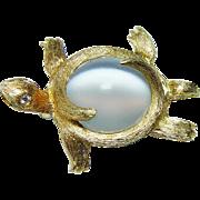 Henry Dunay Turtle Cats Eye Moonstone Diamond Brooch 18K Gold Platinum Vintage Estate