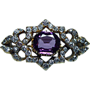Imperial Russian Antique Miner Cushion Diamond Purple Sapphire Brooch 14K Gold Estate