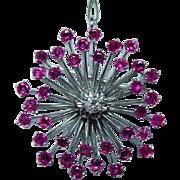 Vintage Platinum 3.5 Ruby Old European Diamond Brooch Pendant 15gr Heavy Estate