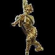 Art Nouveau Satyr Brooch Pendant 18K Gold Estate 3D 13gr Heavy Signed