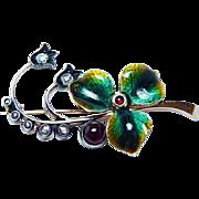 Faberge Russian Antique Art Nouveau Mine cut Diamond Enamel Brooch 14K Gold
