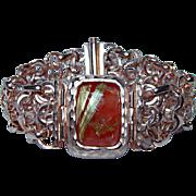 "Vintage 14K Rose Red Gold Rutilated Quartz Bracelet Heavy Estate Italy 7.75"""