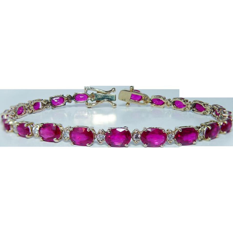 certified vintage 9 8ct gem ruby bracelet 14k gold