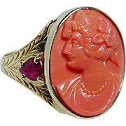 Antique Large Fire Coral Cameo Heart Ruby Ring 18K Gold Estate Jewelry circa 1890s