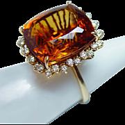 Giant Vintage 41ct Madeira Citrine Diamond Ring Pendant 18K Gold 18gr Estate 2in1