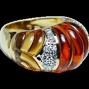 Vintage Designer 15ct Fancy Citrine Diamond Ring 18K Gold 13gr Heavy Estate