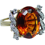 Vintage 8ct Madeira Citrine Diamond Ring 18K Gold Platinum Estate
