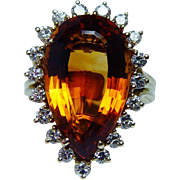 Vintage 8ct Madeira Citrine Diamond Ring 18K Gold Estate Jewelry