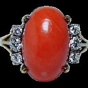 Vintage Mediterranean Fire Coral Diamond Ring 18K Gold Signed Designer Estate
