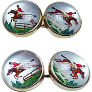 Tiffany & Co Equine Hunting Horse Reverse Intaglio Essex Crystal Cufflinks 14K Gold Estate Box