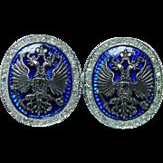 Vintage Russian Enamel Diamond Double Headed Eagle Cufflinks 14K Pink Gold Estate
