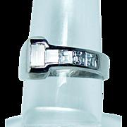 Vintage 1ct Baguette Asscher Diamond 5 stone Anniversary Ring 14K White Gold Estate Jewelry