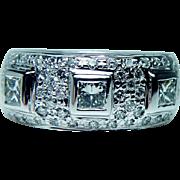 Vintage 1.4ct VS-G Princess Diamond Ring 18K White Gold Heavy Estate Jewelry