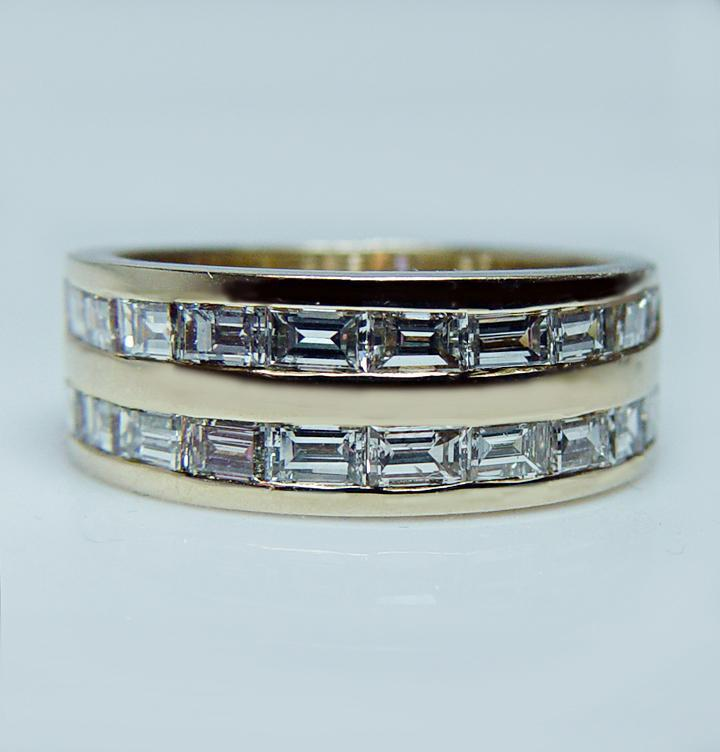 Vintage Baguette Vs1 Gh Diamond Wide Anniversary Ring Band