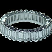 GIA 3ct VS-G Baguette Diamond 18K White Gold Eternity Ring Band Vintage Estate Size 4.75