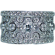 Vintage VS-H Diamond Ring Cigar Band 18K White Gold Heavy Estate