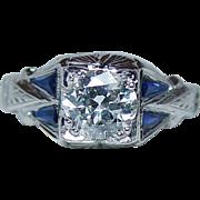 ART DECO 1ct+ Old Miner Diamond French Sapphire Ring 18K White Gold Estate GIA circa 1920
