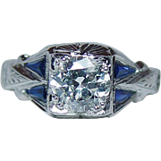 ART DECO 1ct+ Old Miner Diamond French Sapphire Ring 18K White Gold Estate GIA circa 1920