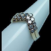Vintage 18K Gold Diamond Pair Guard Rings Ring Chevron Estate