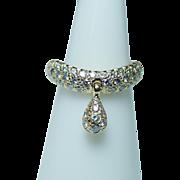 Vintage Diamond 18K Gold Ring Dangle Charm Designer