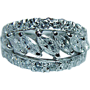 Full Eternity Vintage 1.9ct Marquise Diamond Platinum Ring Estate Size 5 Sizable - Red Tag Sale Item