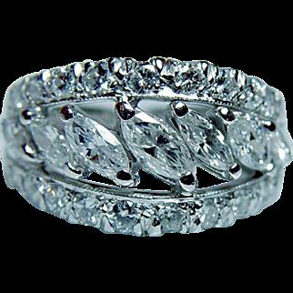 Full Eternity Vintage 1.9ct Marquise Diamond Platinum Ring Estate Size 5 Sizable