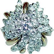 Hammerman Brothers Diamond Ring 18K Gold Vintage Designer Estate Heavy