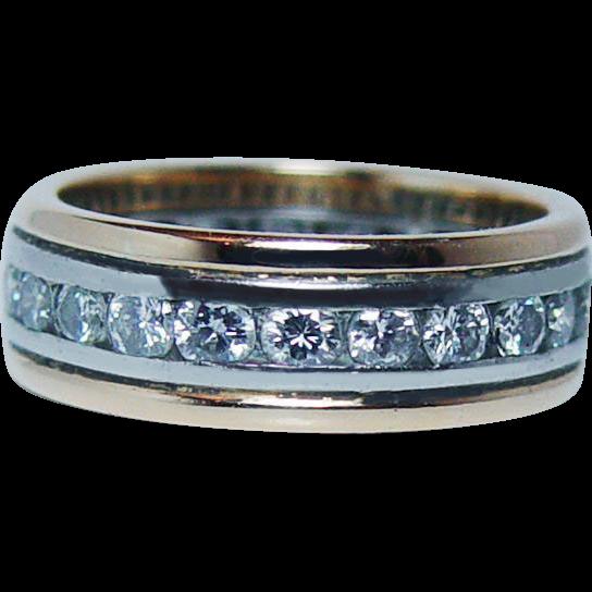 OSCAR HEYMAN Full Eternity Diamond Ring 18K Gold Platinum ...